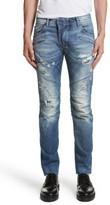 Pierre Balmain Men's Destroyed Moto Jeans