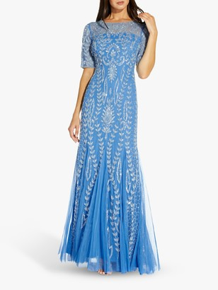Adrianna Papell Floral Embellished Maxi Gown Godets