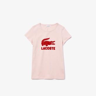 Lacoste Girls' Logo Print Cotton T-shirt