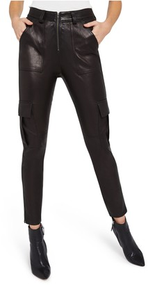 Alice + Olivia Leather Skinny Cargo Pant
