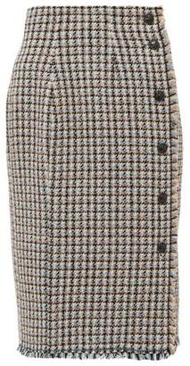 Rebecca Taylor Houndstooth-tweed Cotton-blend Skirt - Pink Multi