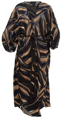 Lisa Marie Fernandez Adwoa Zebra-devore Crepe Kaftan - Womens - Brown Print