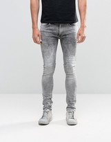 Religion Skinny Fit Hero Jeans In Grey Veins
