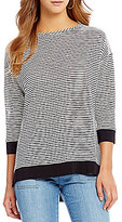 Jones New York Stripe Knit Jersey Drop Shoulder HI-Low Hem Tunic