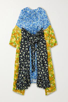 Vetements Draped Floral-print Jacquard And Satin-twill Midi Dress - Blue