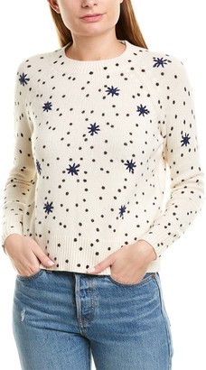 La Vie Rebecca Taylor Embroidered Dot Wool-Blend Top