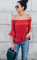 Ily Couture Red Flutter Sleeve Off the Shoulder Top