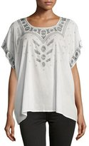 The Great The Beaded Willow Short-Sleeve Tunic, Cream