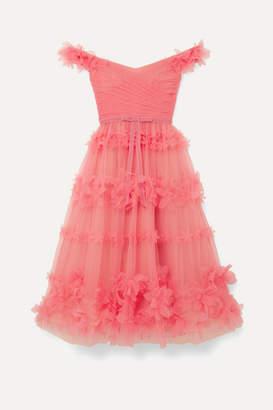Marchesa Off-the-shoulder Velvet-trimmed Appliqued Tulle Dress - Coral
