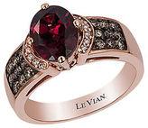 LeVian Chocolatier Vanilla Diamond, Chocolate Diamond, Raspberry Rhodolite and 14K Rose Gold Ring