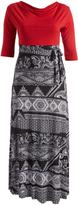 Glam Red & Black Geometric Tie-Waist Maxi Dress - Plus