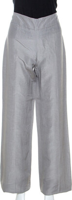 Armani Collezioni Grey Linen and Silk Blend Wide Leg Trousers M