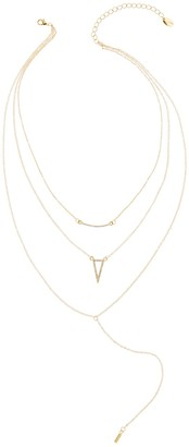 Sterling Forever Layered Cubic Zirconia Bar & Triangle Y-Necklace