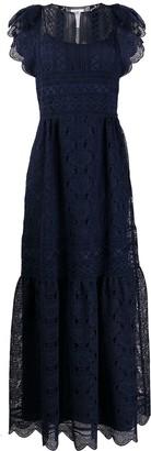 Alberta Ferretti lace panel tiered dress