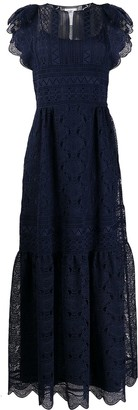 Alberta Ferretti Lace Panel Tiered Dress