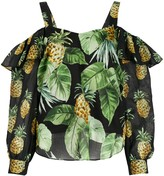 Twin-Set Twin Set pineapple-print cold-shoulder blouse