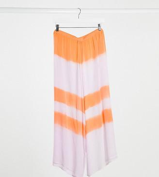 ASOS DESIGN curve crinkle wide leg culotte co-ord in pastel tie dye