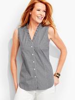 Talbots The Perfect Ruffled Sleeveless Shirt-Gingham