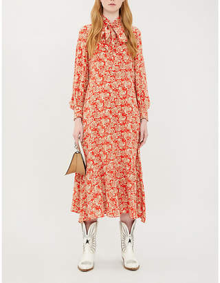 Sandro Paisley-print neck-tie silk-crepe de Chine dress