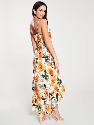 AX Paris Floral WrapMidi Dress - Orange/Cream