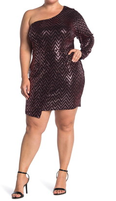 Curvy Sense Sequins One Shoulder Dress