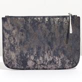 Jigsaw Alba Medium Textured Leather Pouch Clutch, Navy Smoke