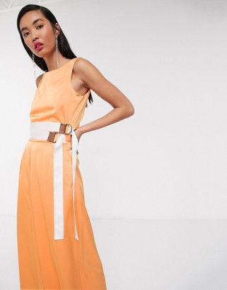 NATIVE YOUTH relaxed wide leg jumpsuit with double belt in satin