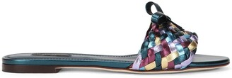 Dolce & Gabbana Metallic Woven Mule Sandals