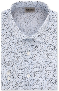 Kenneth Cole Reaction Men's Extra-Slim Fit Non-Iron Performance Stretch Speckled Print Dress Shirt