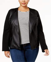 Alfani Plus Size Faux-Leather Contrast Jacket, Created for Macy's