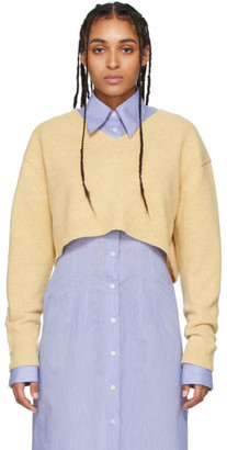 Acne Studios Beige Wool Cropped V-Neck Sweater