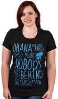 Disney Stitch Ohana Means Family Text Juniors T-shirt