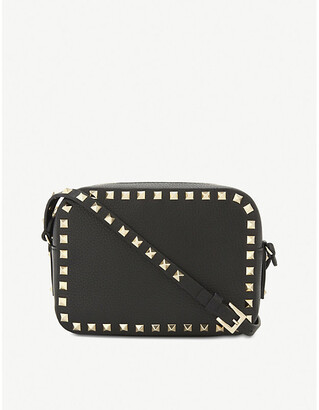 Valentino Women's Black Rockstud Leather Camera Cross-Body Bag