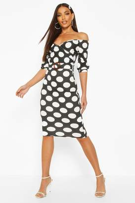 boohoo Large Polka Dot Off Shoulder Wrap Midi Dress
