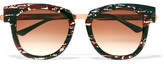 Thierry Lasry Mondanity Cat-eye Acetate And Rose Gold-tone Sunglasses - Storm blue