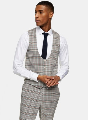 Topman Stone Check Suit Waistcoat