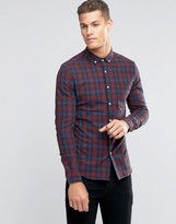 Asos Skinny Plaid Check Shirt In Burgundy