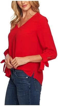 CeCe 3/4 Sleeve V-Neck Blouse w/ Sleeve Ties (Scarlet Glow) Women's Blouse