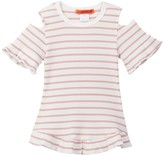 Funkyberry Stripe Flounce Hem Tee (Toddler & Little Girls)