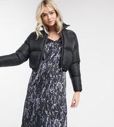 Noisy May Tall satin slip dress in black marble print