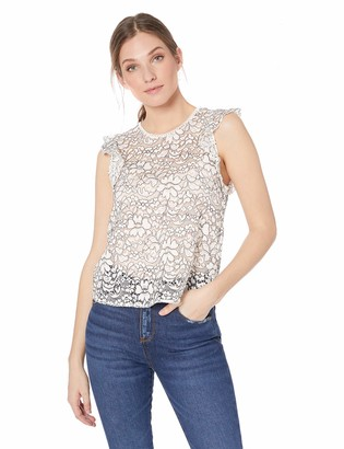 Three Dots Women's LA0564 Corded LACE Flounce Sleeve Tank
