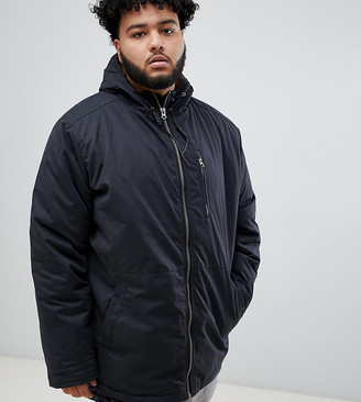 Replika Plus Hooded Jacket In Black With Contrast Lining