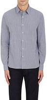 Barneys New York MEN'S GINGHAM COTTON DOBBY DRESS SHIRT-NAVY SIZE M
