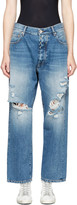 Unravel Indigo Distressed Baggy Boy Jeans