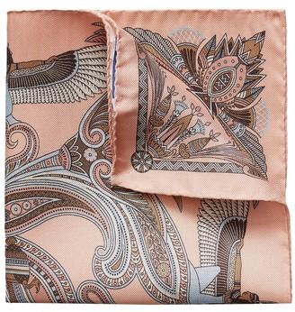 Eton Pink Ancient Inspired Paisley Print Pocket Square