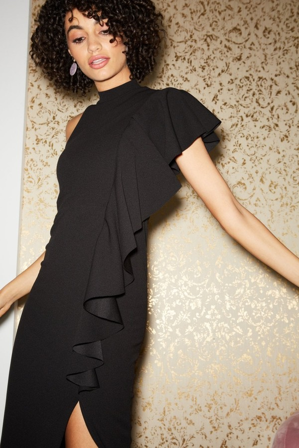 Thumbnail for your product : Little Mistress Nuevo Black Draped Frill Halterneck Maxi Dress