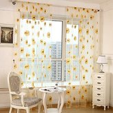 ZWB Beautiful Sunflower Pattern Window Treatment Lovely Flower Print Sheer Curtains Elegance Voile Tulle Screens Panels for Living Room Children Kids Room Rod Pocket Process 1 Panel