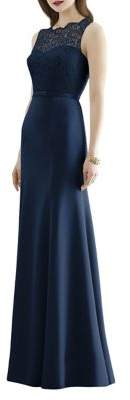Dessy Collection Full Length Sleeveless Marquis Lace and Matte Chiffon Dress