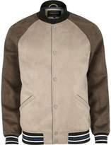 River Island Mens Beige block faux suede varsity jacket