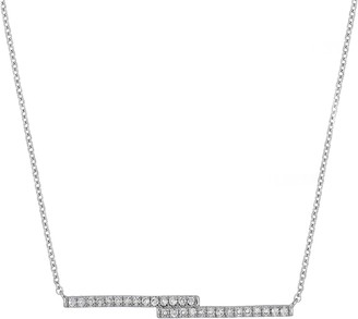Carriere Sterling Silver Pave Diamond Double-Bar Pendant Necklace - 0.11 ctw